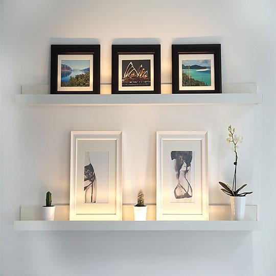 Set 2 rafturi perete MDF, 55x12 cm, Alb