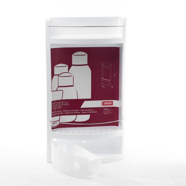 Coltar baie cu sertar, plastic, Alb, 28x20x50 cm
