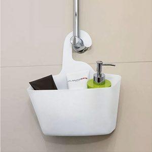 Cos depozitare suspendabil baie, plastic, Alb, 28x12x32 cm