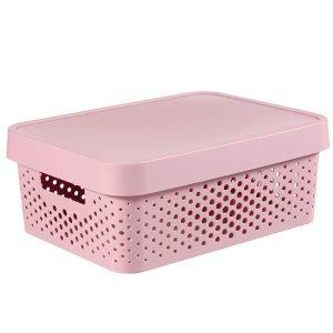Cutie din platic roz, cu capac, 11 litri