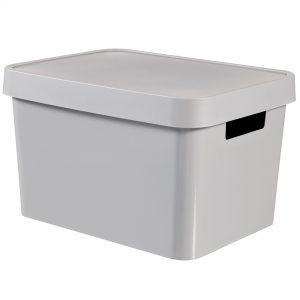 Cutie din plastic gri, cu capac, 17 litri
