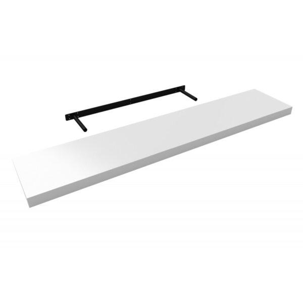 Raft de perete cu suport ascuns, 118x23.5x3.8 cm, Alb