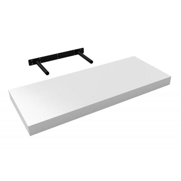 Polita perete cu suport fixare ascuns, 60x23.5x3.8 cm Alb