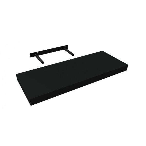 Raft de perete cu suport ascuns, 60x23.5x3.8 cm, Negru