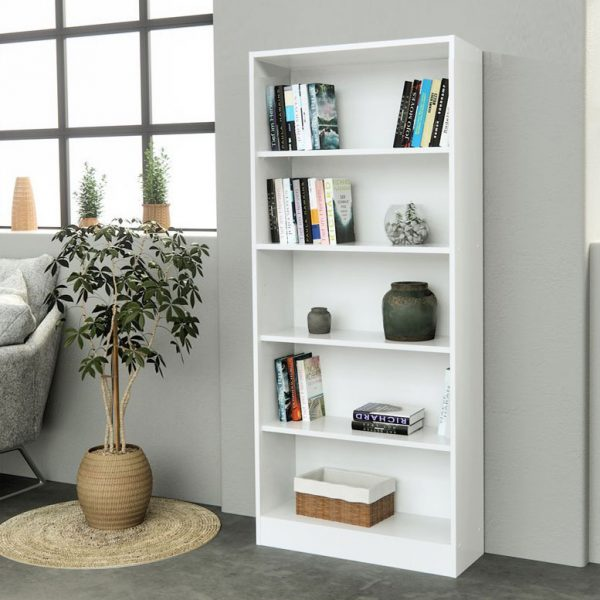 Biblioteca alba 60x24x180 cm, MDF