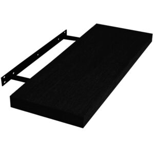 Raft de perete cu suport ascuns, 118x23.5x3.8 cm, Negru