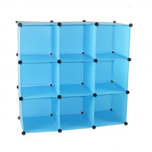 Etajera din plastic cu 9 rafturi, 110x36.5x110 cm Albastru