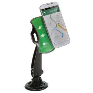 Suport auto pentru telefon cu gel aderent, Negru/Verde