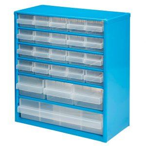 Organizator casetiera metalica cu 24 sertare, Mac Allister, 30x15x33 cm, Albastru