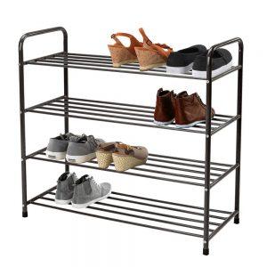 Pantofar metalic cu 4 rafturi, Otel, 80x35x80 cm
