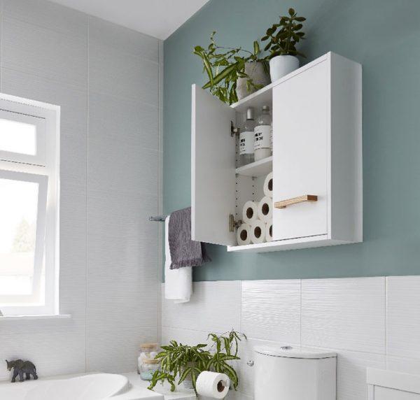 Cabinet suspendat pentru baie, 60x15x60 cm, PAL Alb