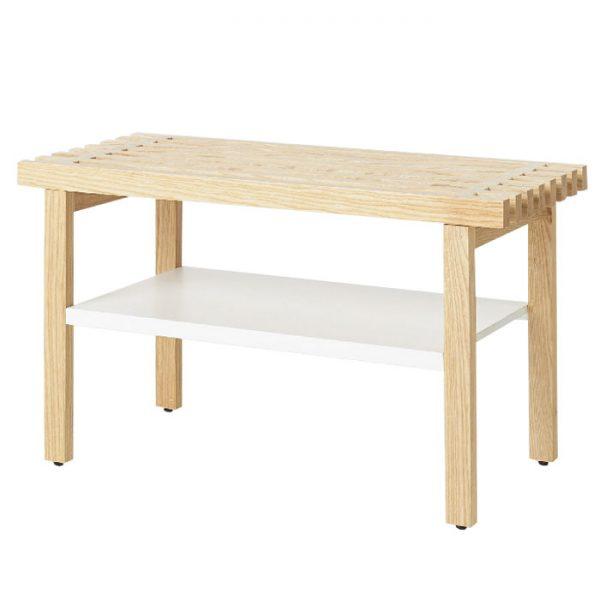 Bancuta din lemn cu raft pentru baie, 45x36x80 cm Natur/Alb