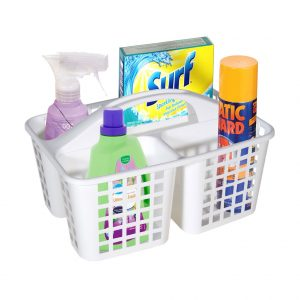 Organizator cu maner pentru produse curatenie din plastic 31x22x13 cm