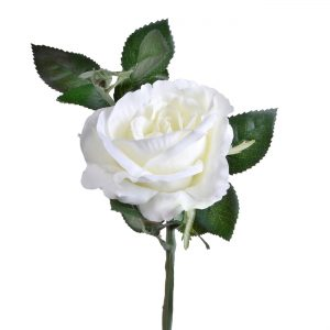Fir de trandafir alb artificial, Arly, 32 cm
