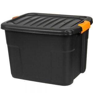 Cutie depozitarea neagra cu capac, 60L, 60x39x41 cm