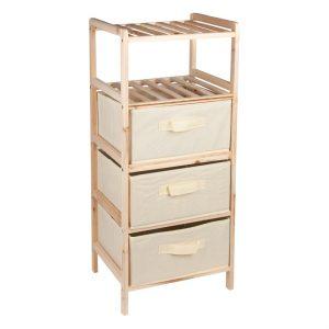 Dulap din lemn cu 3 sertare din material textil si 2 rafturi, 32x26x76 cm