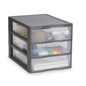 Organizator din plastic cu 3 sertare, 36x26x26 cm, Gri