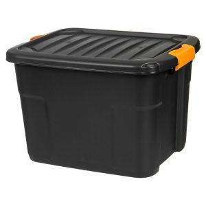 Cutie depozitarea neagra cu capac, 42L, 50x39x33 cm