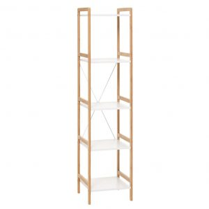 Etajera lemn cu 5 rafturi, 35x37x150 cm, Alb/Natur