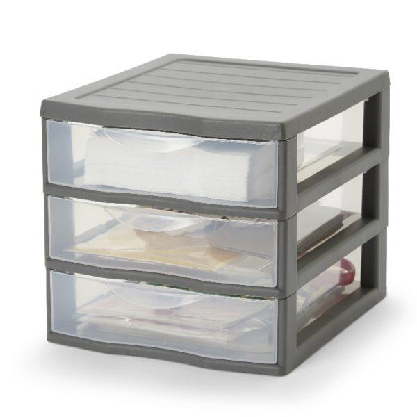 Organizator din plastic cu 3 sertare, 21x18x17 cm, Gri