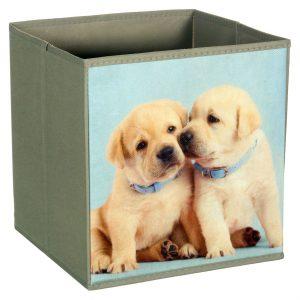 Cutie depozitare cu imprimeu catelusi, 27x27x28 cm, Gri