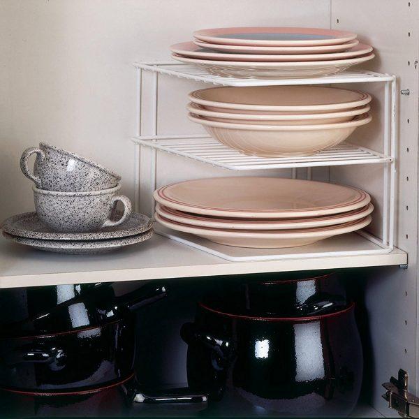Etajera organizator vase, Arly, Metal Alb, 23x23x21 cm