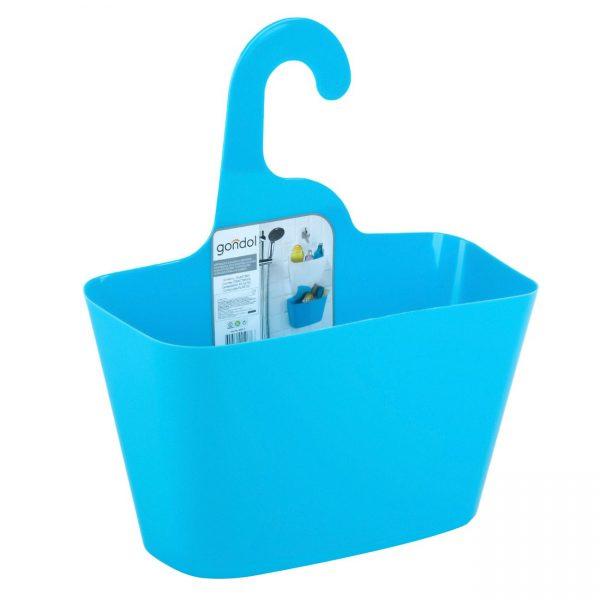 Cos depozitare suspendabil baie, plastic, Albastru, 28x12x32 cm