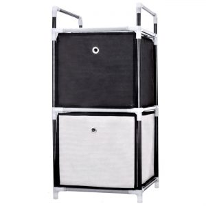 Organizator cu 2 sertare textile, 30x28x65 cm, Metal/Plastic