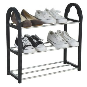 Suport pentru pantofi cu 3 rafturi, 41x19x47.5 cm Negru