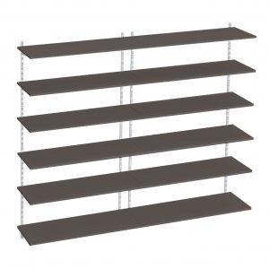 Raft modular Sigma 12P, 160x30x200 cm, Metal/PAL Alb/Wenge