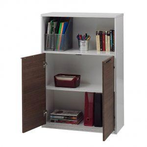 Comoda pentru birou cu 2 usi, PAL Alb/Nuc, 114x34x150 cm