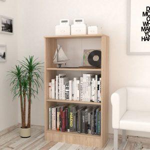 Etajera pentru birou cu 3 rafturi, 70x32x122 cm Stejar
