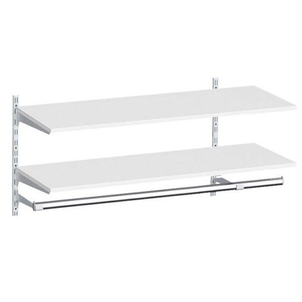 Raft depozitare suspendabil cu polite si bara de haine, Metal/PAL Alb, 80x30x50 cm