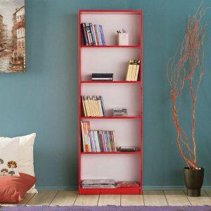 Etajera cu 5 rafturi rosie, 58x23x170 cm