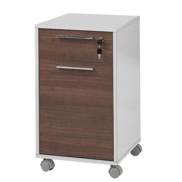 Comoda birou rollbox, cu sertar si usa, PAL Alb/Nuc, 40x42x64 cm