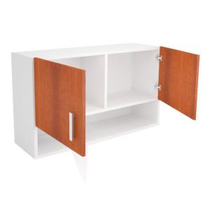 Cabinet de bucatarie cu 2 usi si un raft, 100x30x58 cm, PAL Alb/Cires