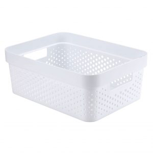 Cos din plastic alb, 11 litri, 36x27x14 cm