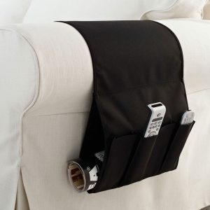 Suport tip buzunar pentru telecomenzi si reviste, husa canapea si fotoliu, negru