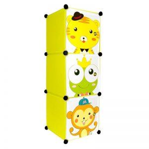 Dulap din plasic cu 3 compartimente pentru copii, 37x37x111 cm
