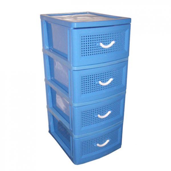 Comoda albastra din plastic cu 4 sertare, 45x38x93 cm