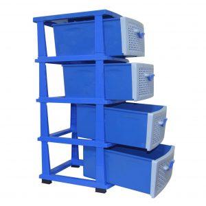 Comoda din plastic cu 4 sertare, 44x36x90 cm Albastru/Alb