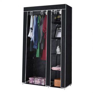 Dulap textil pentru haine, 100x46x174 cm, Negru