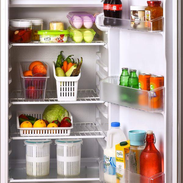 Recipient organizare frigider, 29x13x17 cm Plastic Alb