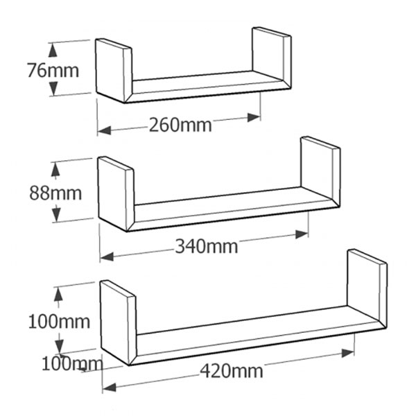 Set 3 rafturi, U MDF Alb 42/34/26x10x10 cm