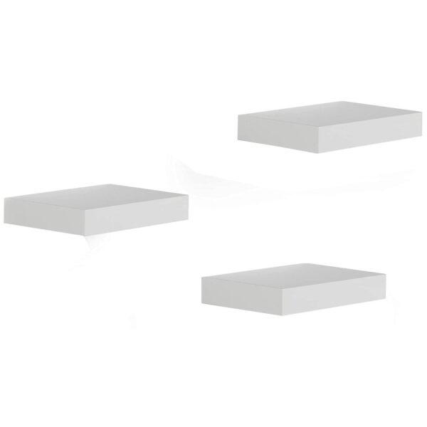 Set 3 rafturi de perete cu suport suspendare ascuns 23.5x23.5x3.8 cm, MDF Alb