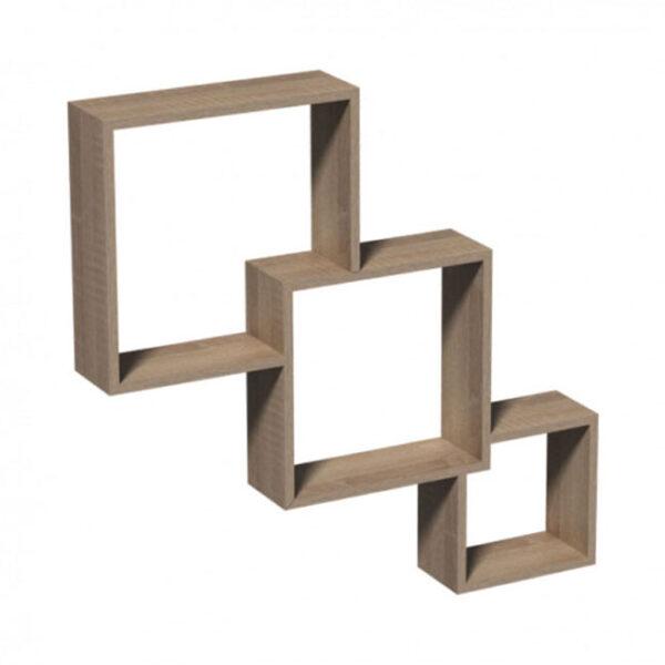 Raft de perete Modular, 65.5x10x65.5 cm, PAL Stejar