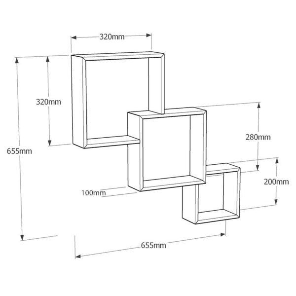 Raft de perete Modular, 65.5x10x65.5 cm