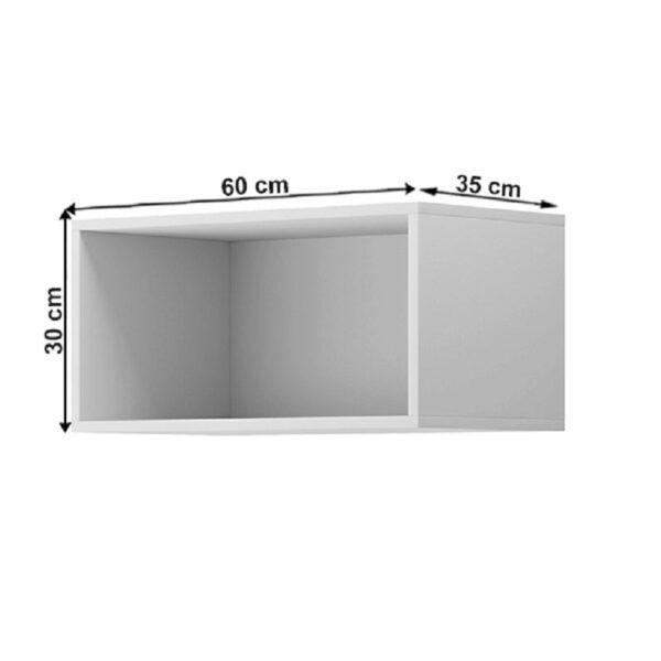 Raft suspendat dreptunghiular, alb, SPRING 60x35x30 cm