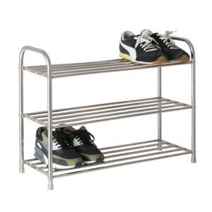 Pantofar metalic cu 3 rafturi, Otel, 64x24x50 cm
