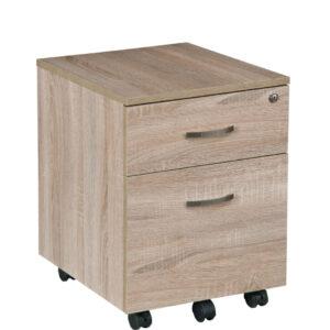Comoda de birou, rollbox, cu 2 sertare, 40x44x53 cm PAL Stejar